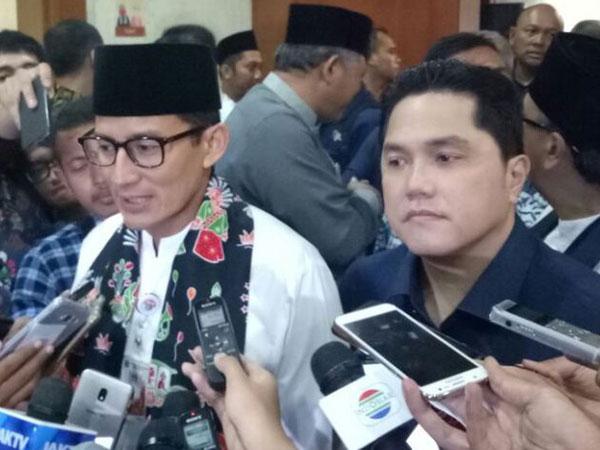 Tanggapan Sandiaga Soal Sahabatnya Erick Thohir Jadi Ketua Timses Jokowi-Ma'ruf Amin