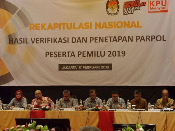 KPU Tetapkan 14 Partai Politik yang Lolos Jadi Peserta Pemilu 2019