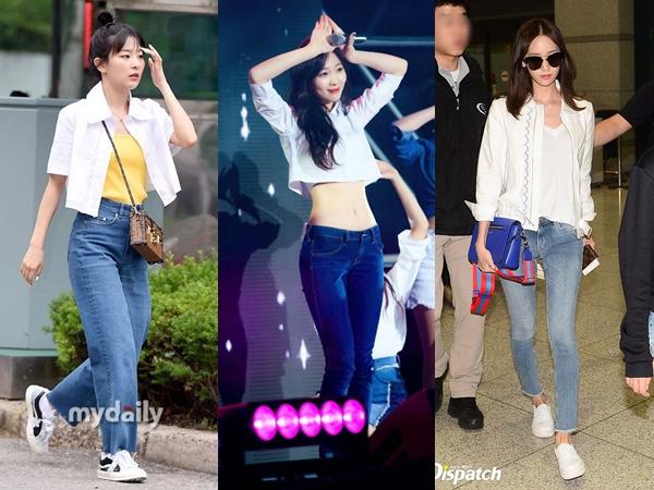 Deretan Idola K-Pop Tampil Sederhana dengan Jeans dan Kemeja Putih, Tetap Stylish!