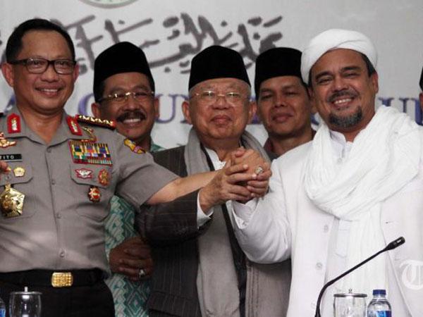 Cawapres Jokowi Ma'ruf Amin Akui Ada Kemungkinan Bertemu Habib Rizieq di Arab Saudi