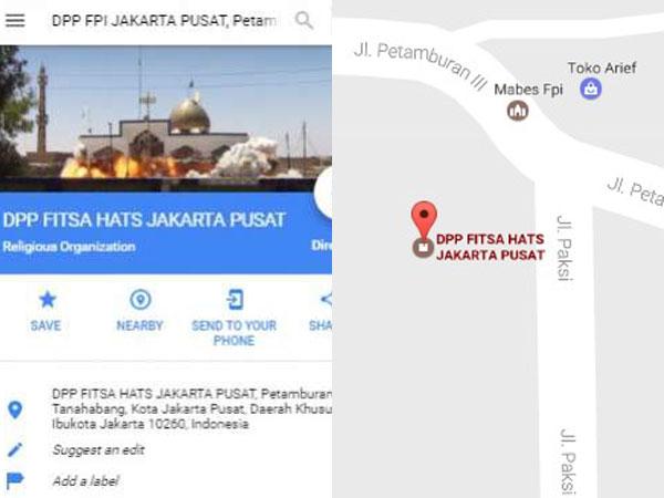 Heboh Netizen Ramai Coba Google Maps Ubah DPP FPI Pusat Jadi 'Fitsa Hats'