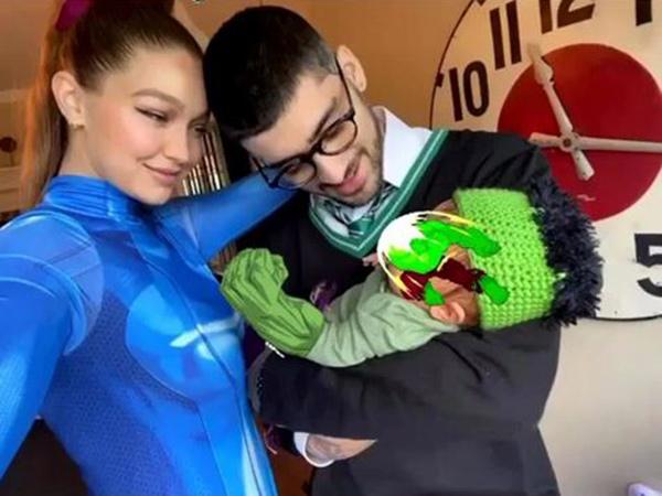 Gemas, Gigi Hadid dan Zayn Malik Dandani Putrinya Jadi Hulk