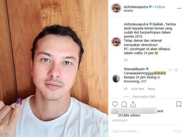 Jangan Sedih! Foto Selfie yang Dihapus Nicholas Saputra Dipajang di Foto Profil