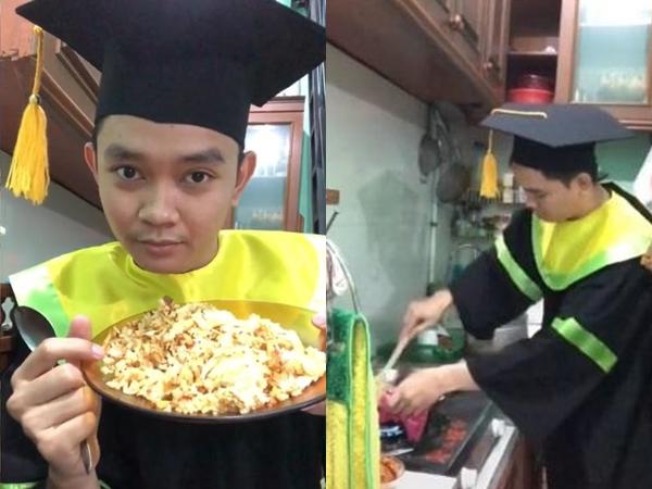 Aksi Mahasiswa Ini Viral Karena Wisuda Sambil Masak Nasi Goreng