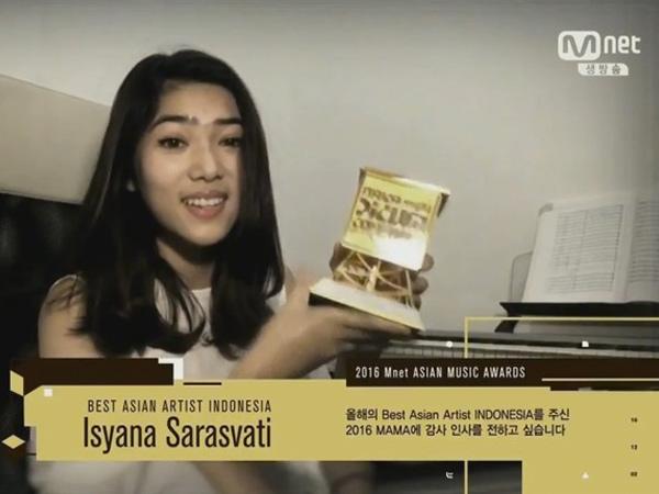 Selamat! Isyana Sarasvati Terima Penghargaan 'Best Asian Artist Indonesia' di MAMA 2016