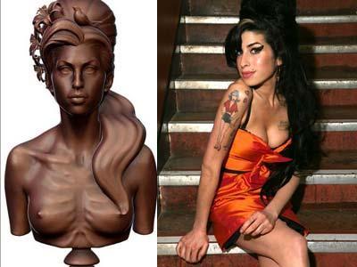 Amy Winehouse Diabadikan Jadi Patung Topless