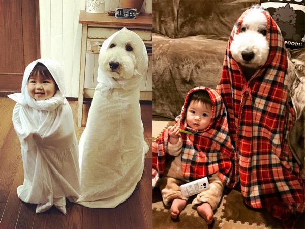 Gemasnya! Bayi dan Anjing Asal Jepang Ini Pakai Baju Kembar