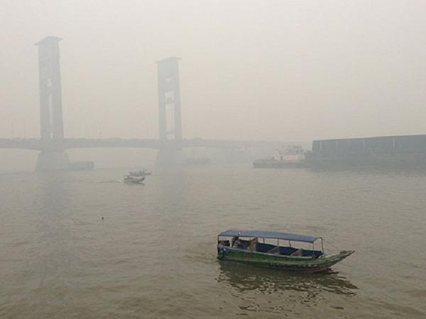 Titik Api di Sumsel Meningkat, Kabut Asap Kembali Selimuti Palembang