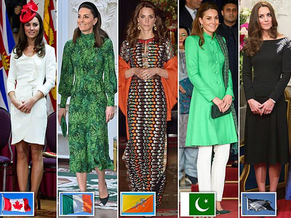 Cerdasnya Kate Middleton 'Kibarkan' Bendera-bendera Negara Melalui Gaun Flawlessnya