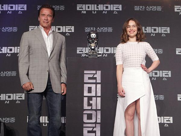 Promosi 'Terminator Genysis', Arnold Schwarzenegger Dan Emilia Clark Tiba Di Seoul