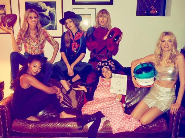Jadi Deadpool, Taylor Swift Ajak Gigi Hadid dan Teman Satu Gengnya di Pesta Halloween