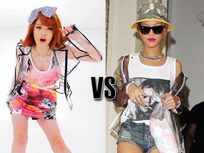 Jaket Transparan Sulli 'f(x)' dan Rihanna, Siapa Lebih Modis?