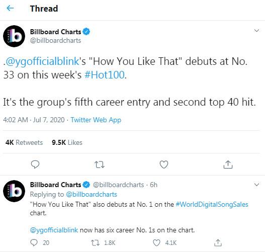 Blackpink How You Like That Debut Di Top 40 Chart Billboard Hot 100