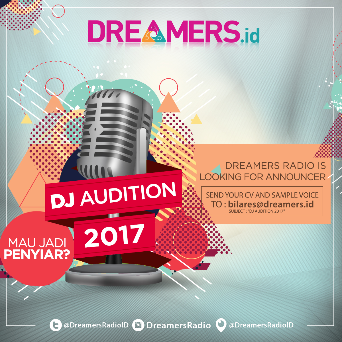 DREAMERS RADIO - DJ AUDITION 2017 (Open Recruitment)